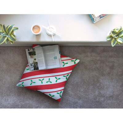 Holiday Holly Christmas Floor Pillow Size: 26 x 26