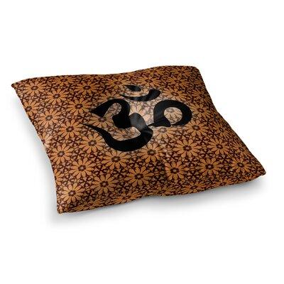 Om Floor Pillow Size: 26 x 26, Color: Orange/Black