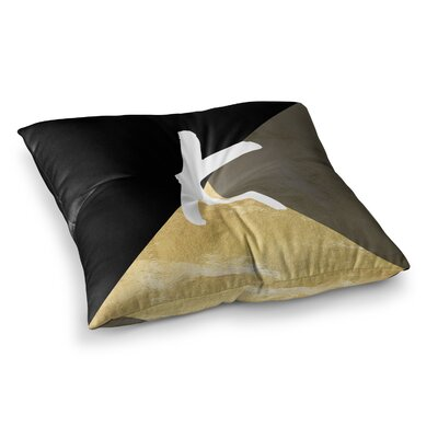 Monogram Foil Floor Pillow Size: 26 x 26, Color: Black