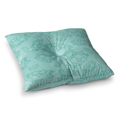 Lotus Pattern Floor Pillow Size: 23 x 23, Color: Teal