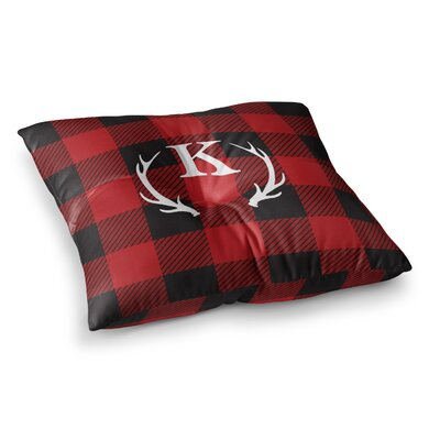 Plaid Monogram Floor Pillow Size: 26 x 26