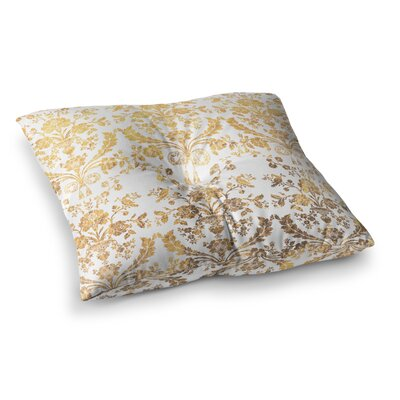 Baroque Abstract Floral Floor Pillow Size: 26 x 26, Color: Gold