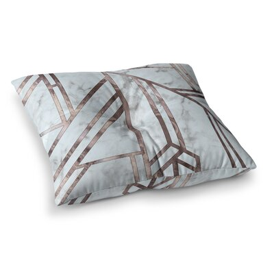 Dark Marble Mosaic Digital Geometric Floor Pillow Size: 26 x 26