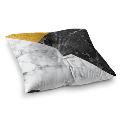 Geo Marble Floor Pillow Size: 23 x 23, Color: Gold