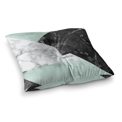 Geo Marble Floor Pillow Size: 26 x 26, Color: Mint/Black