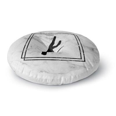 Gray Marble Monogram Round Floor Pillow Size: 23 x 23