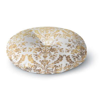 Baroque Gold Abstract Floral Round Floor Pillow Size: 23 x 23