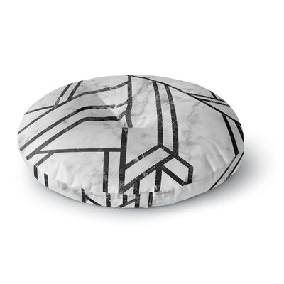Black Marble Mosaic Geometric Modern Round Floor Pillow Size: 23 x 23