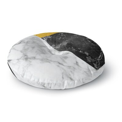 Geo Marble and Gold Digital Geometric Round Floor Pillow Size: 26 x 26