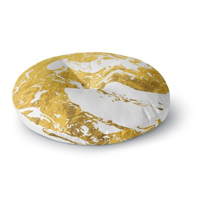 'Gold Ink on Water' Metal Round Floor Pillow Size: 26