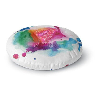 Dream in Color Rainbow Watercolor Round Floor Pillow Size: 23 x 23