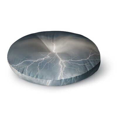 Lightning Storm Round Floor Pillow Size: 23 x 23