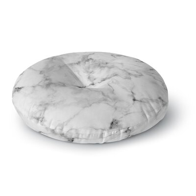 White Marble Round Floor Pillow Size: 26 x 26