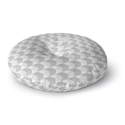 Grayscale Cubed Geometric Round Floor Pillow Size: 26 x 26