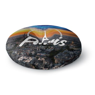 Paris Travel Round Floor Pillow Size: 23 x 23