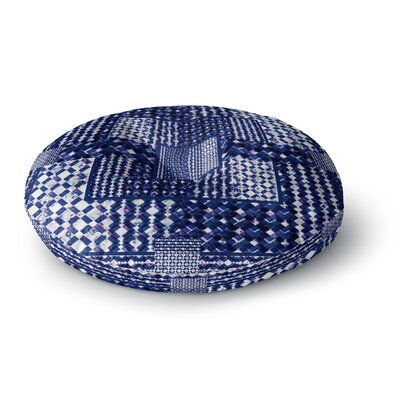 Kathryn Pledger Morocco Blue Mixed Media Round Floor Pillow Size: 26 x 26