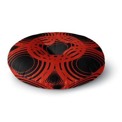 Kathryn Pledger Geo Red Crimson Geometric Round Floor Pillow Size: 26 x 26