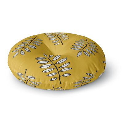 Laurie Baars Pagoda Leaf Gold Leaves Round Floor Pillow Size: 23 x 23
