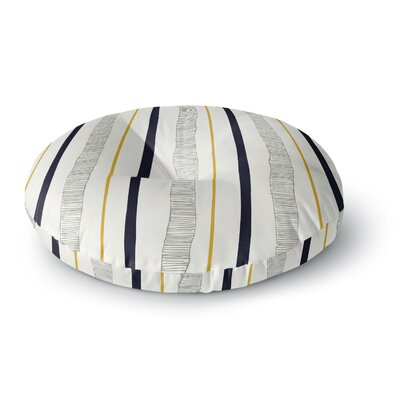 Laurie Baars Textured Stripes Abstract Lines Round Floor Pillow Size: 26 x 26