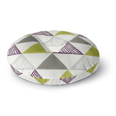 Laurie Baars Textured Triangles Green Round Floor Pillow Size: 23 x 23