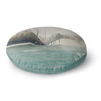 Laura Evans The Pier at Santa Monica Coastal Round Floor Pillow Size: 26 x 26