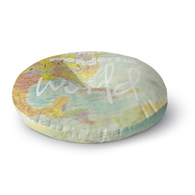 Libertad Leal 'What a Wonderful World' Map Round Floor Pillow Size: 26