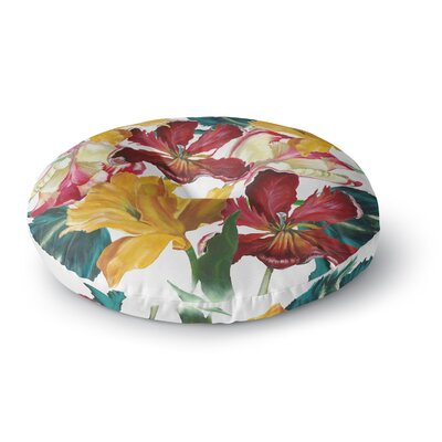 Lydia Martin Flower Power Floral Rainbow Round Floor Pillow Size: 26 x 26