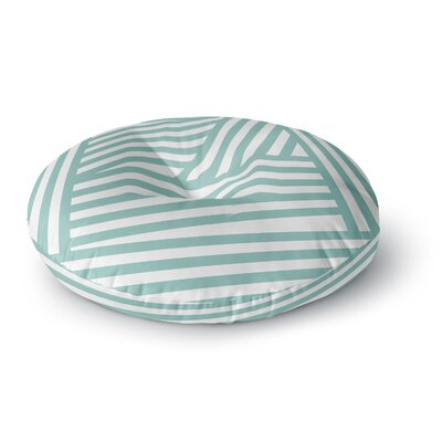 Louise Machado Aqua Stripes Round Floor Pillow Size: 23 x 23