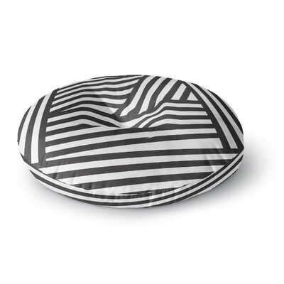 Louise Machado Black Stripes Round Floor Pillow Size: 26 x 26