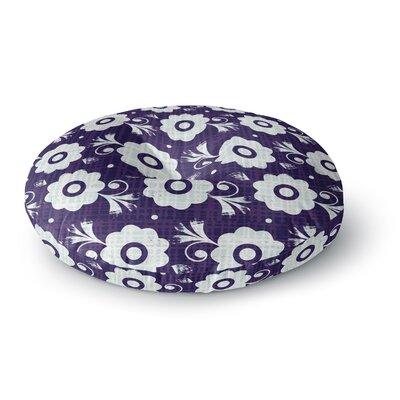 Louise Machado Navy Flower Round Floor Pillow Size: 26 x 26