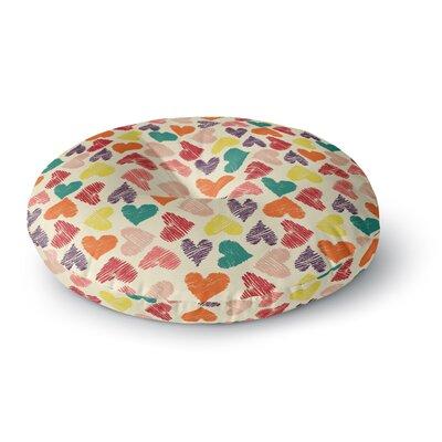 Louise Machado Little Hearts Round Floor Pillow Size: 26 x 26