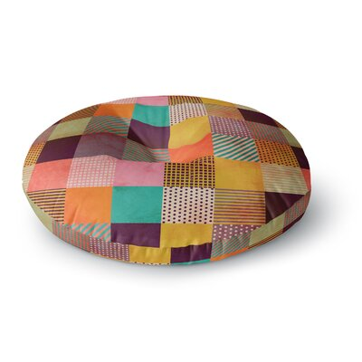 Louise Machado Decorative Pixel Warm Patches Round Floor Pillow Size: 26 x 26
