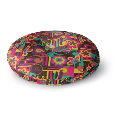 Louise Machado Arabesque Floral Bright Colorful Round Floor Pillow Size: 26 x 26
