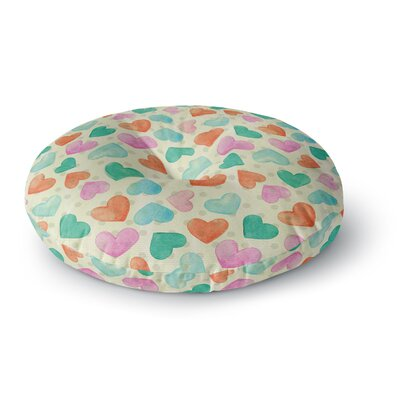 Louise Machado Watercolor Hearts Round Floor Pillow Size: 23 x 23