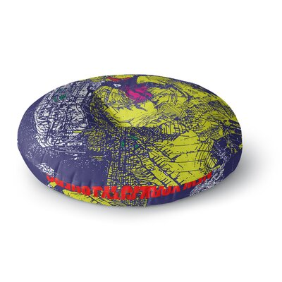 Lazar Milanovic Yellow and Blue Composition Round Floor Pillow Size: 26 x 26