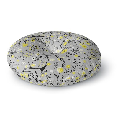 Laura Nicholson Blackbirds on Gray Round Floor Pillow Size: 23 x 23