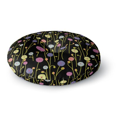 Laura Nicholson Ranunculas on Black Floral Round Floor Pillow Size: 26 x 26