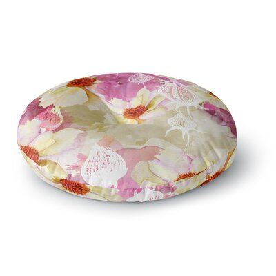 Liz Perez SWEET FLORIST Cream Round Floor Pillow Size: 26 x 26