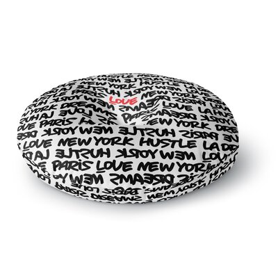 Just L Lux Writing Wth Blk Red Urban Typography Round Floor Pillow Size: 26 x 26