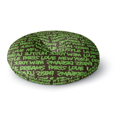 Just L Lux Writing Grn Brn Typography Round Floor Pillow Size: 23 x 23