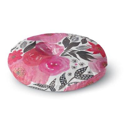 Li Zamperini Pink Garden Rose Floral Round Floor Pillow Size: 26 x 26