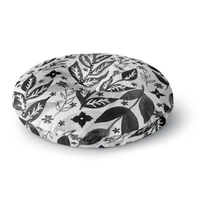 Li Zamperini Black Foliage Round Floor Pillow Size: 26 x 26