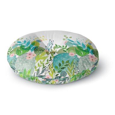 Li Zamperini 'Cute Foliage' Watercolor Round Floor Pillow Size: 26