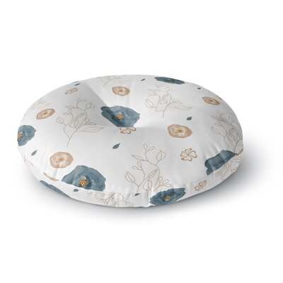 Li Zamperini Blue Collection - Deli Watercolor Round Floor Pillow Size: 26 x 26