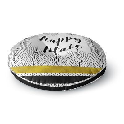 Li Zamperini Happy Place Mixed Media Round Floor Pillow Size: 26 x 26