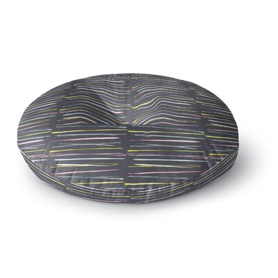 MaJoBV Rosewall Thorns Gray Stripes Round Floor Pillow Size: 26 x 26