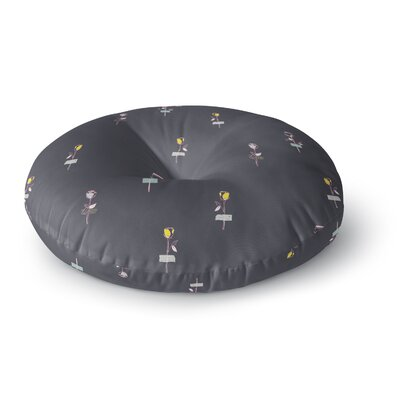 MaJoBV Rosewall Gray Floral Round Floor Pillow Size: 23 x 23