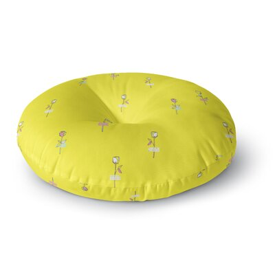 MaJoBV Rosewall Yellow Floral Round Floor Pillow Size: 26 x 26