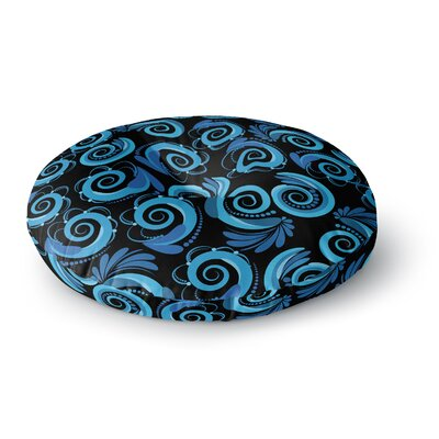 Maria Bazarova Blue Waves Round Floor Pillow Size: 26 x 26