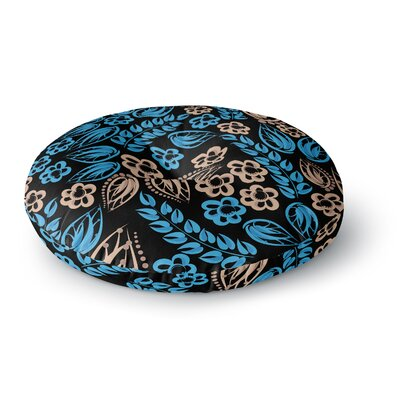 Maria Bazarova Blue Flowers Floral Round Floor Pillow Size: 23 x 23